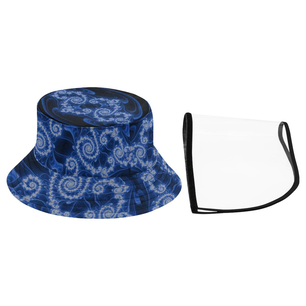 Delicate Blue White Lace Fractal Abstract Women's Bucket Hat (Detachable Face Shield)