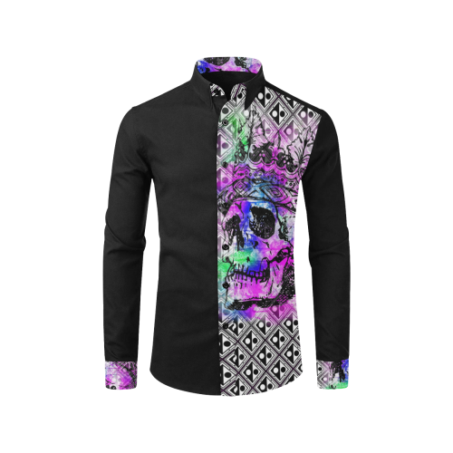 SKULL PATTERN ART LUXURY FASHION Men's All Over Print Casual Dress Shirt (Model T61)