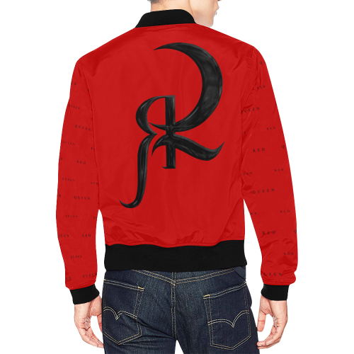 RED QUEEN SYMBOL BLACK LOGO BLACK SLEEVES ALL OVER RED All Over Print Bomber Jacket for Men (Model H19)