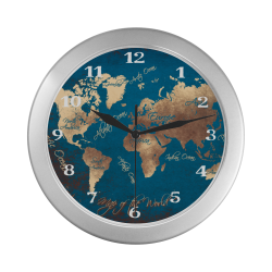 world map watch 6 Silver Color Wall Clock