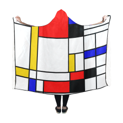 Bauhouse Composition Mondrian Style Hooded Blanket 60''x50''