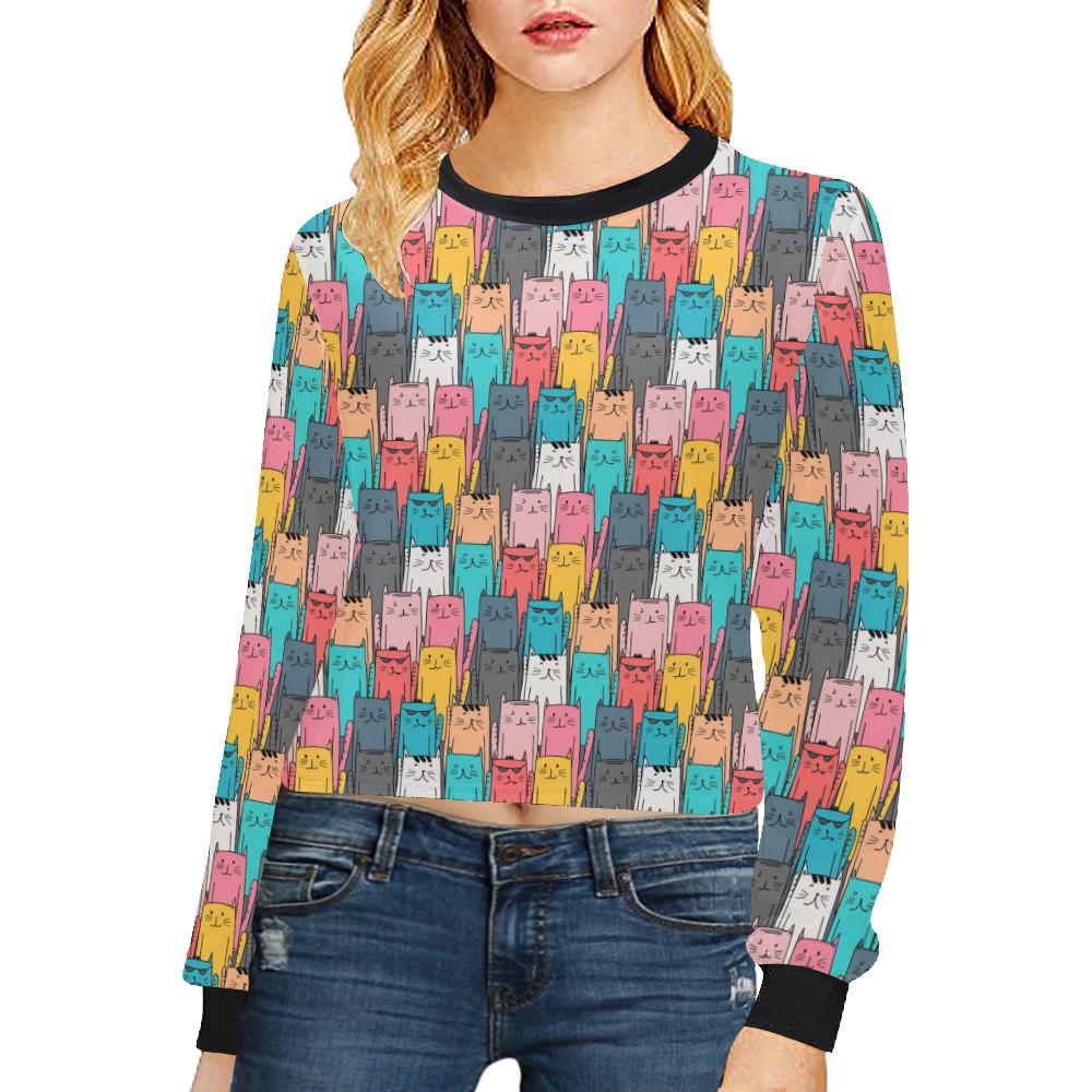 Cartoon Cat Pattern Crop Pullover Sweatshirts for Women (Model H20)