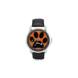 BooBooFace by MacAi Orange Unisex Stainless Steel Leather Strap Watch(Model 202)