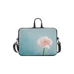 "Gerbera Daisy - Pink Flower on Watercolor Blue Laptop Handbags 11"""