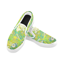 floral 1 abstract with white trim Slip-on Canvas Shoes for Men/Large Size (Model 019)