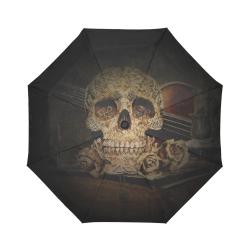 Steampunk Alchemist Mage Roses Celtic Skull halfto Auto-Foldable Umbrella (Model U04)