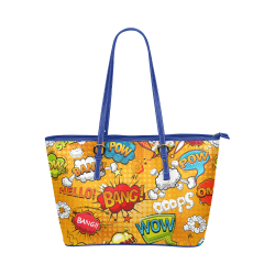Fairlings Delight's Pop Art Collection- Comic Bubbles 53086r3Bluepump Leather Tote Bag/Small Leather Tote Bag/Small (Model 1651)