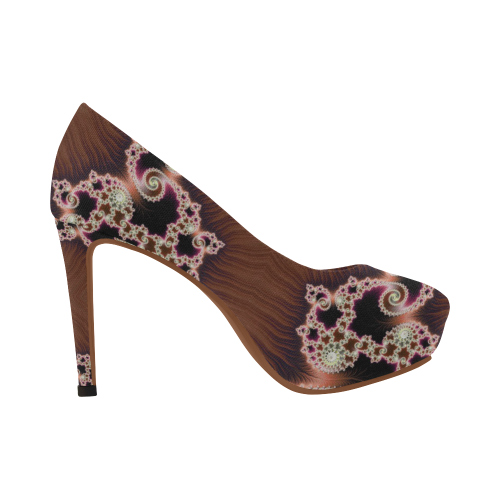 Copper and Pink Hearts Lace Fractal Abstract Women's High Heels (Model 044)