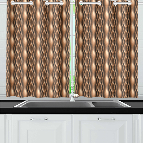 Brown leather abstract wave Kitchen Curtain 26'' X 39''(2 Pieces, 1 Design)