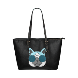 Hipster Cat Leather Tote Bag/Large (Model 1651)