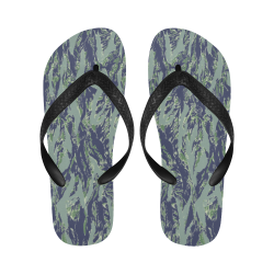 Jungle Tiger Stripe Green Camouflage Flip Flops for Men/Women (Model 040)