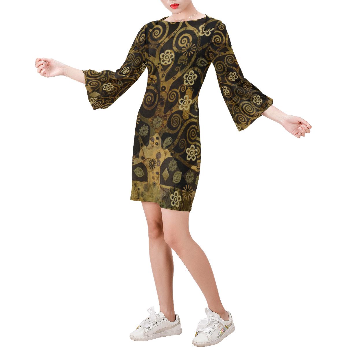 Klimt Tree Bell Sleeve Dress (Model D52)