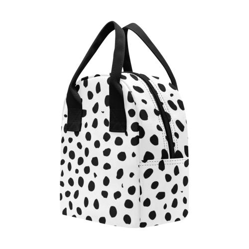 Black and White Seamless Cheetah Spots Zipper Lunch Bag (Model 1689)