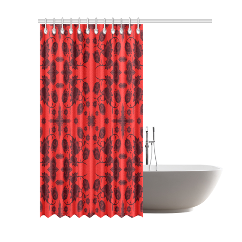 "Black red flowers Shower Curtain 69""x84"""