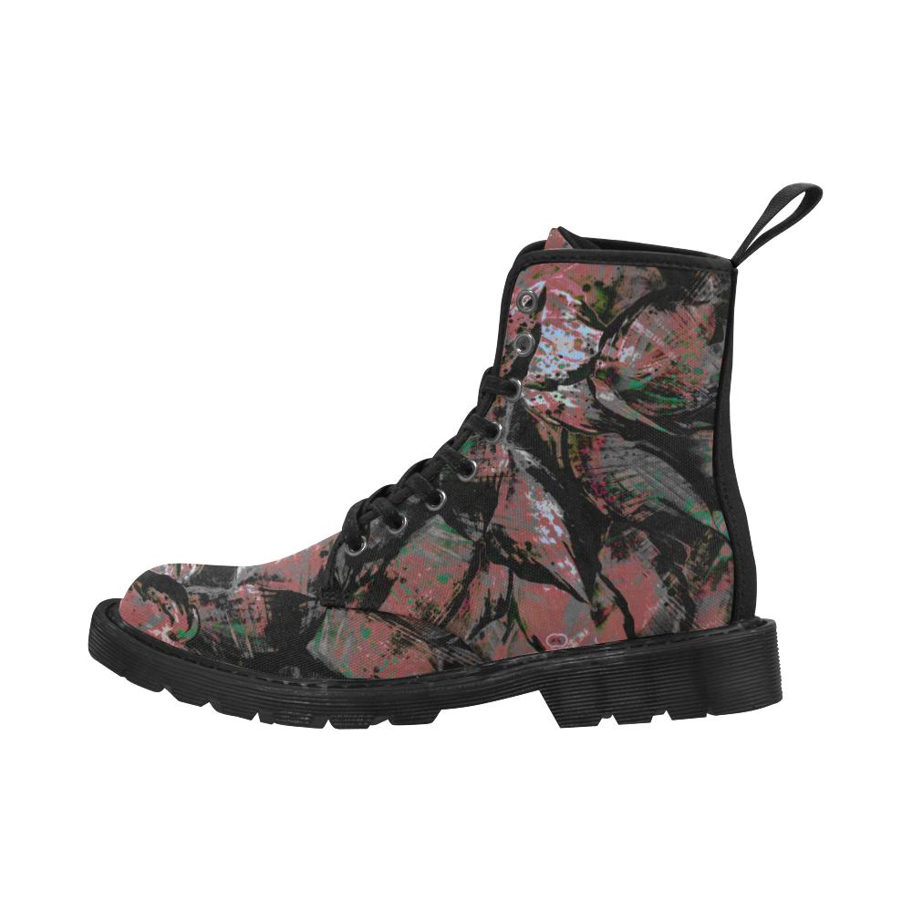 Pastel Maroon Step Unit Crew Martin Boots for Men (Black) (Model 1203H)