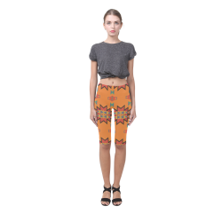 Misc shapes on an orange background Hestia Cropped Leggings (Model L03)