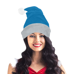 Team Colors Honolulu Blue and Silver Santa Hat