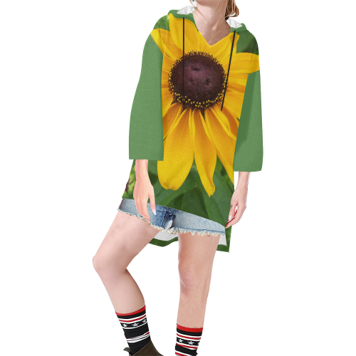 Black Eyed Susan Beauty Step Hem Tunic Hoodie for Women (Model H25)