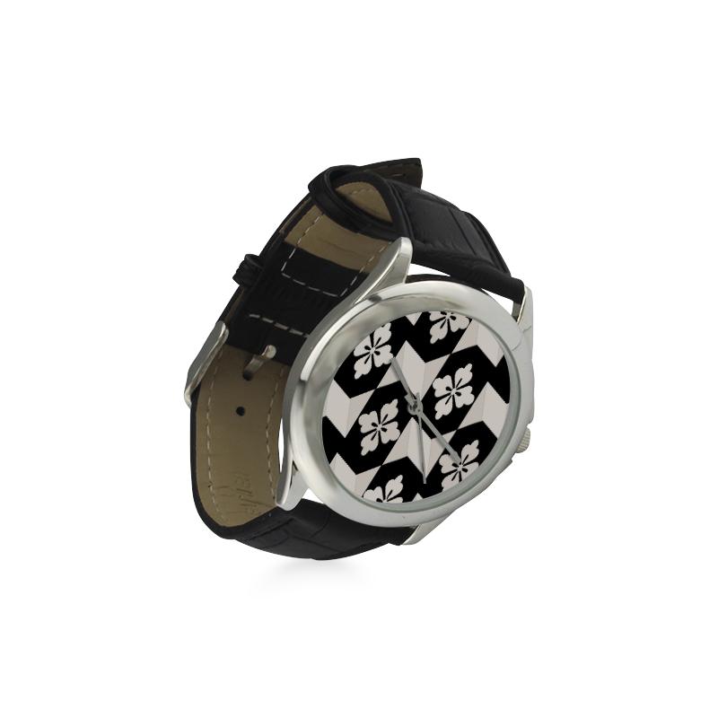 Black White Tiles Women's Classic Leather Strap Watch(Model 203)