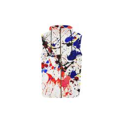 Blue & Red Paint Splatter All Over Print Sleeveless Zip Up Hoodie for Kid (Model H16)