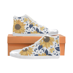 Sunflower LG Women's High Top Canvas Shoes High Top Canvas Women's Shoes/Large Size (Model 002)