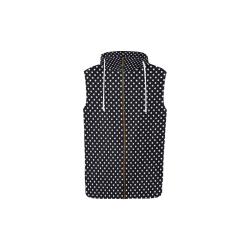 Black polka dots All Over Print Sleeveless Zip Up Hoodie for Kid (Model H16)