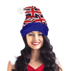Union Jack British UK Flag Blue Trim Santa Hat