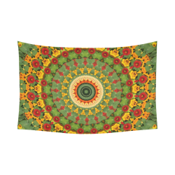 "Garden Mandala Cotton Linen Wall Tapestry 90""x 60"""