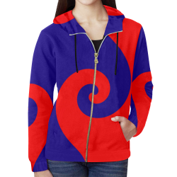 Mod Hippie Red and Blue Curlicue Swirls All Over Print Full Zip Hoodie for Women (Model H14)