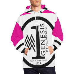 PINKY WHITE All Over Print Hoodie for Men (USA Size) (Model H13)