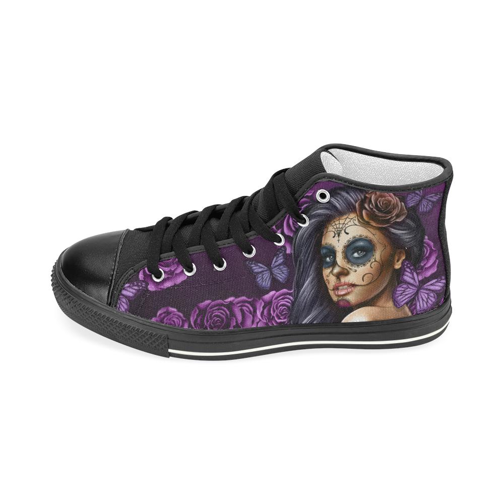 Calavera Violet Black Women's Classic High Top Canvas Shoes (Model 017)