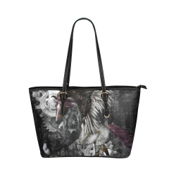Aweswome steampunk horse with wings Leather Tote Bag/Large (Model 1651)