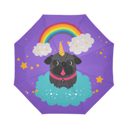 Black Pug Unicorn Auto-Foldable Umbrella (Model U04)