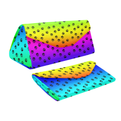 rainbow with black paws Custom Foldable Glasses Case