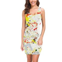 Black, Red, Yellow Paint Splatter Medea Vest Dress (Model D06)