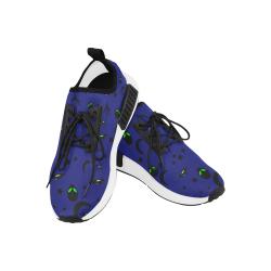 Alien Flying Saucers Stars Pattern (Black/Blue) Men's Draco Running Shoes (Model 025)