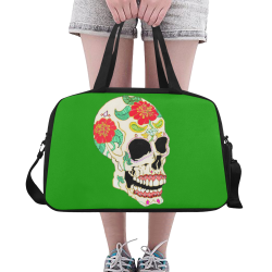 Flower Sugar Skull Green Fitness Handbag (Model 1671)
