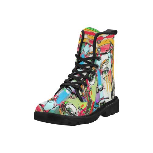 Graffiti Man Martin Boots for Women (Black) (Model 1203H)