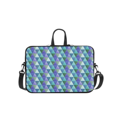 Triangle Pattern - Blue Violet Teal Green Laptop Handbags 14""