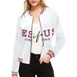 Jesus-john-1.2-1 All Over Print Bomber Jacket for Women (Model H21)