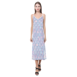 Mermaid Scales V-Neck Open Fork Long Dress(Model D18)