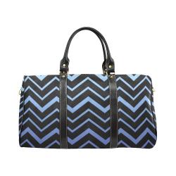 Steel Blue Chevrons on Black Background New Waterproof Travel Bag/Large (Model 1639)