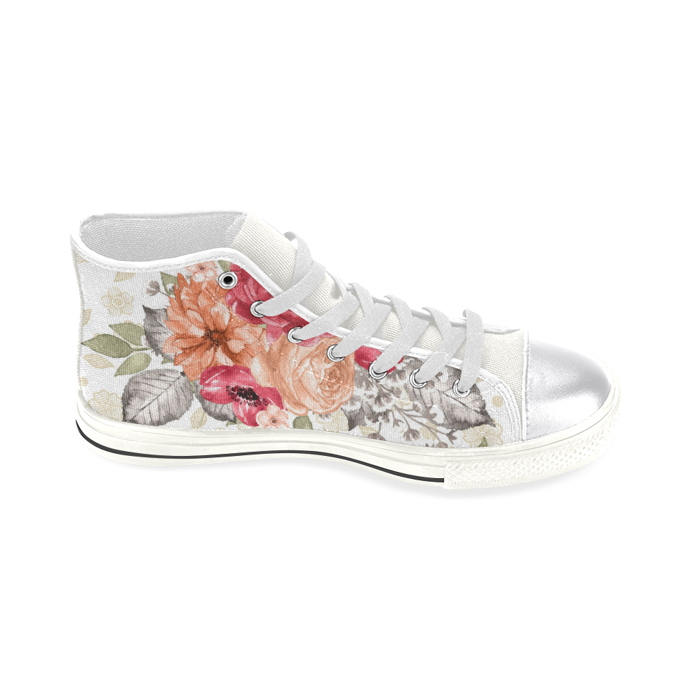 Sweet Rose Shoes, Watercolor Flowers Women's Classic High Top Canvas Shoes (Model 017)