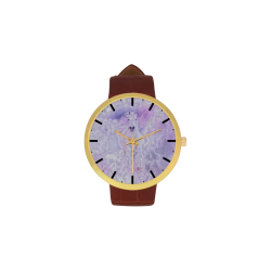 Girly Romantic Horse Of Clouds Women's Golden Leather Strap Watch(Model 212)