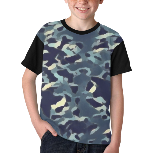 CAMOUFLAGE BLUE WASHED-OUT II Kids' All Over Print T-shirt (Model T65)