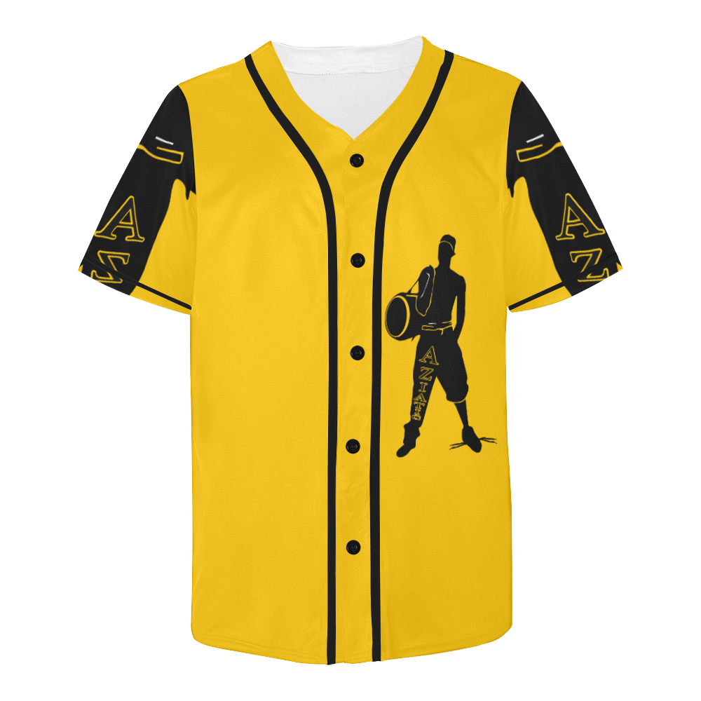 Aziatic Black & Yellow Jersey All Over Print Baseball Jersey for Men (Model T50)