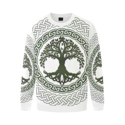 Awesome Celtic Tree Of Life Men's Oversized Fleece Crew Sweatshirt/Large Size(Model H18)