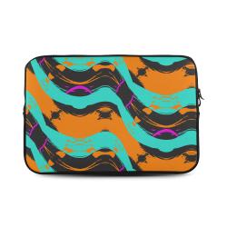 "Blue orange black waves Custom Sleeve for Laptop 17"""