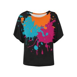 3 Splashes red petrol orange Women's Batwing-Sleeved Blouse T shirt (Model T44)