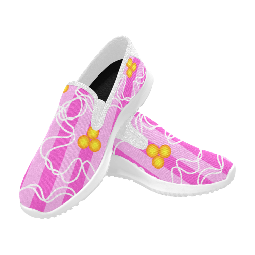 Flowers Orion Slip-on Women's Canvas Sneakers (Model 042)